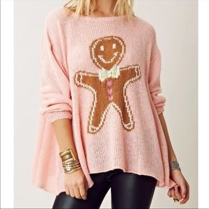 Wildfox Ringo Gingerbread Man Sweater Size S